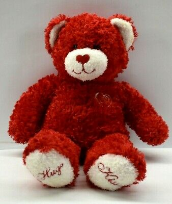 Build A Bear Valentine's Day Hugs Kisses Hearts Plush Soft Touch Bear Doll Red