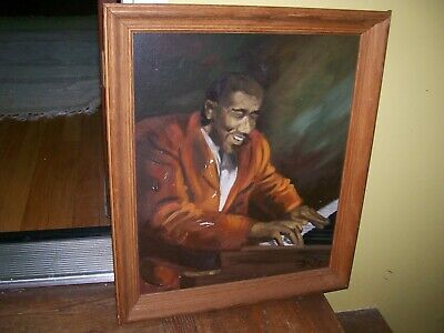 """Oil on Canvas"""" The Blind Pianist"""" signed Jean Claude Guidou in  frame signed"""