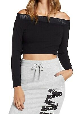 4b305821626 Ivy Park NEW Black Women's Size Small S Off-The-Shoulder Crop Top $50