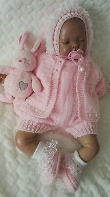 """❤ Hand knitted baby cardigan/romper set 0-3 months / reborn doll 19"""" - 22"""""""