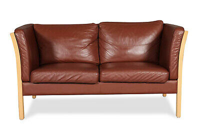 Vintage Danish Two Seater Leather Sofa by Stouby