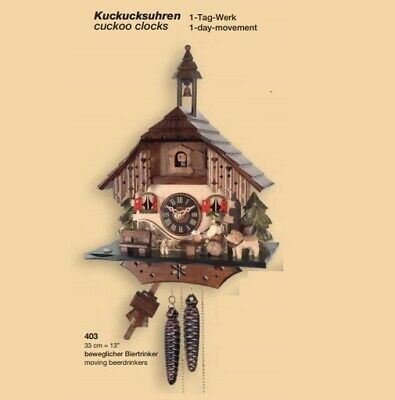 New Original Engstler Black Forest Chalet Cuckoo Clock with moving Beer Drinker