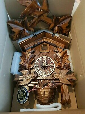 New Original Engstler Black Forest Cuckoo Clock with moving Birds