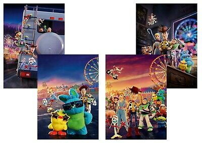 Toy Story 4: Sheriff Woody, Buzz Lightyear,  A5 A4 A3 Textless Movie DVD Posters