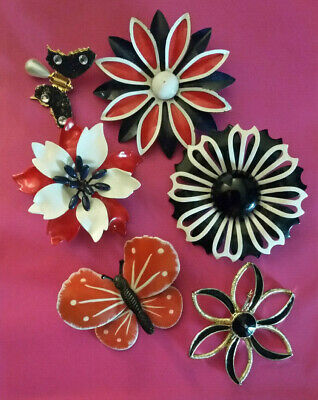 VTG Brooch Lot Enamel Flower Pins BLACK WHITE RED + Butterflies Mod 60s 6pcs