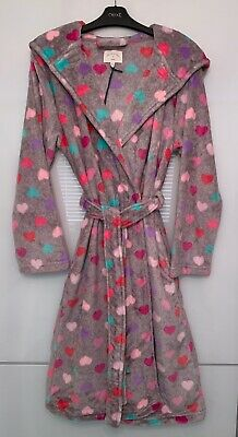 Next Ladies Pretty Multi-Colour Hearts Supersoft Robe Dressing Gown Sml,Med,Lge