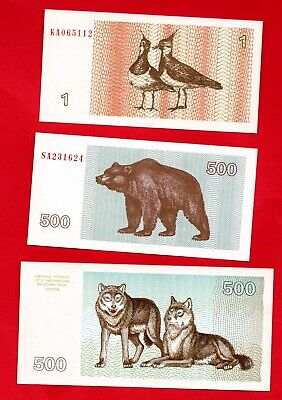 3 Lithuania Banknotes In Uncirculated Condition. 1992 - 1993 Notes.