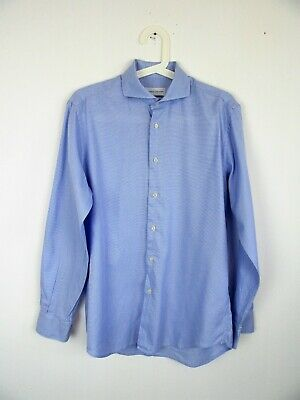 Chequered Shirt Blue Sartoria Italy Man in Very Good Condition, Size 39
