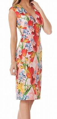 296a9844 Kay Unger NEW Pink Red Womens Size 12 V-Neck Floral Sheath Dress $228 144