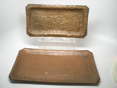 2 Antique Mission Arts & Crafts Era Hammered Copper Rectangle Trays