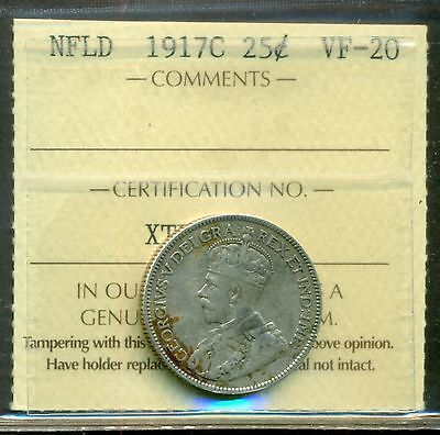 Canada Newfoundland NFLD 1917C 25 Cents Silver Graded ICCS VF-20