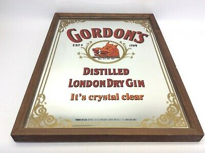 Vintage Used Gordon's Distilled London Dry Gin Mirrored Advertising Bar Sign