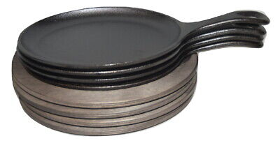 NEW 4 Pre-Seasoned Lodge Cast Iron Oval Serving Skillet w/ Wooden Trivet Fajitas