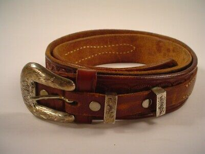 Vtg Sunset Trails Sterling Silver Buckle Western Cowboy Leather Ranger Belt 34""