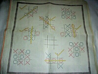 "Vintage Tic Tac Toe Needlepoint Canvas 14"" x 14"""