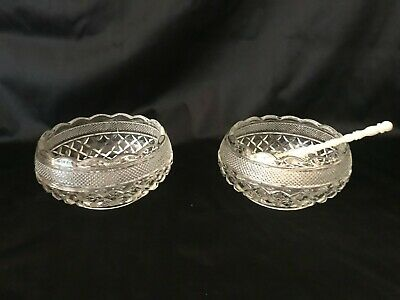 Vintage Clear Glass Relish Olive Appetizer Cream Round Bowl Dish - Two in Set