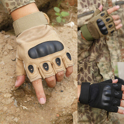 UK STOCK Tactical Hard Knuckle Half Finger Gloves - Army Military Airsoft Work