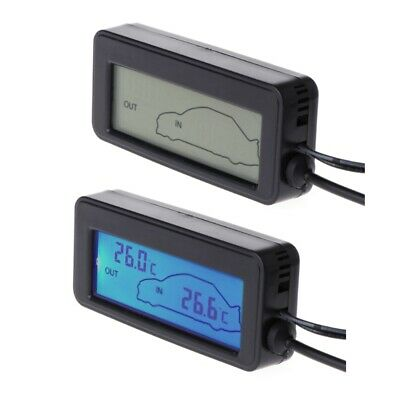 Digital Car LCD Display Indoor Outdoor Thermometer 12V Vehicles Cable Sensor New