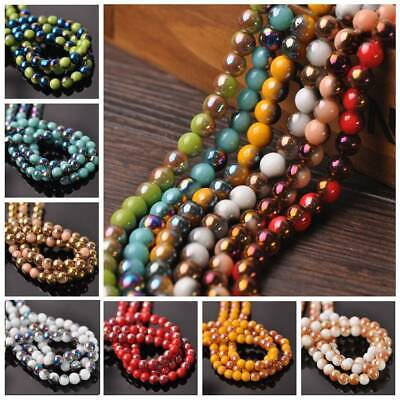 50Pcs 6mm Round Half Plated Coated Opaque Glass Loose Spacer Beads Jewelry Craft