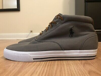 Polo Ralph Lauren Men's Zale Shoes Size 10.5 D Gray Canvas Chukka Sneakers