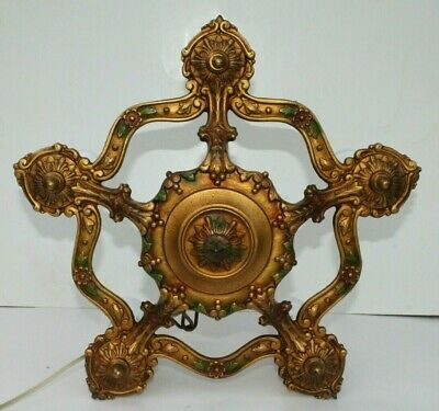1920's Antique Vintage Art Deco 5 Bulb Ornate Ceiling Light Fixture Chandelier