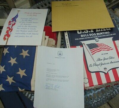 Vtg Flag Flown over US Capitol Signed Letter Architect of Capitol Senator Saxbe