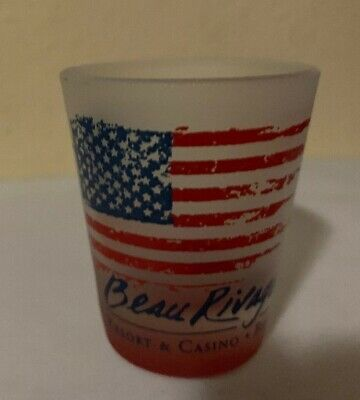 Beau Rivage Resort & Casino Frosted Shot Glass Used American Flag