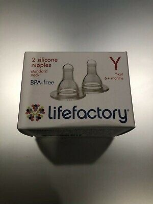 LIFEFACTORY BABY BOTTLE SILICONE NIPPLES TEATS - Y Cut - 6+ Months