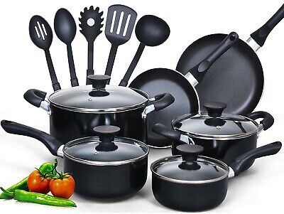 Cookware Set New Black Gauge Aluminum Nonstick Coating Stay Cool Handle Utensil