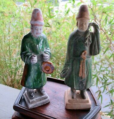 Terra-cotta Pair Chinese Ming Dynasty Green Glazed Attendant Figurines