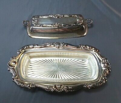 Vintage BRISTOL Silverplated Covered Butter Dish & Glass Insert