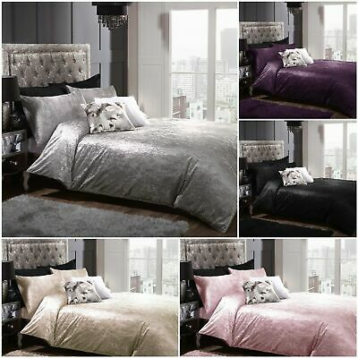 Luxurious Full Crushed Velvet Duvet Cover & Pillowcase With Matching Curtains