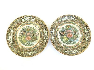 Two Antique Old Original Porcelain China Hand Painted Small Plates Dishes