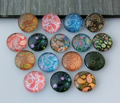 10pc 12mm Paisley Cabochons Glass Domed Leaf Print Nature Cab Earring Supplies
