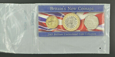 2005 BRITAIN'S NEW COINAGE COMMEMORATIVE 3 COIN B/UNC PACK -  mint sealed pack