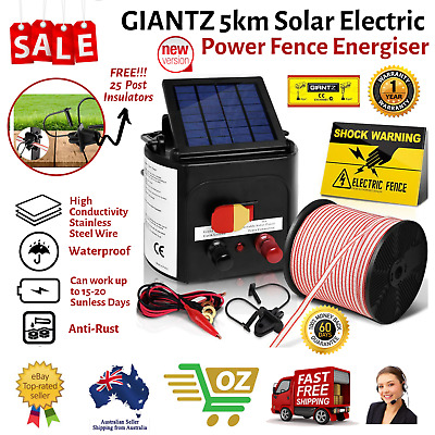 5km Solar Power Electric Fence Charger Kit Farm Fencing Tape Insulator Sign NEW