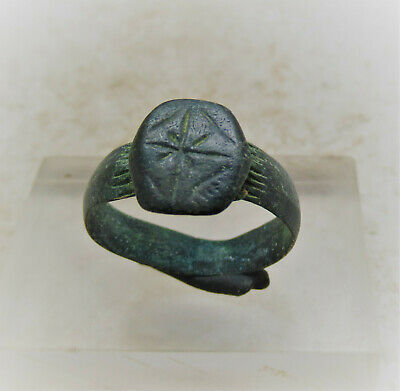 Superb Ancient Byzantine Bronze Ring With Decorated Bezel. Very Fine State
