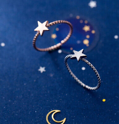Rose Gold plated 925 Sterling Silver Star Ring Pretty Womens Jewellery Gift