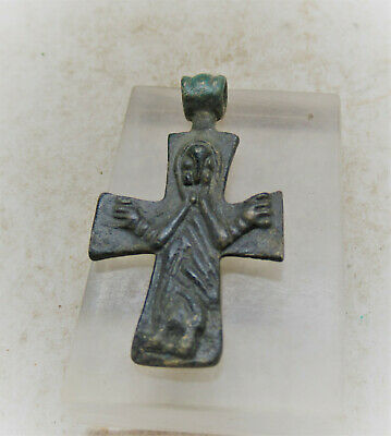 Ancient Byzantine Bronze Cross Pendant Jesus Nailed To Cross Very Rare