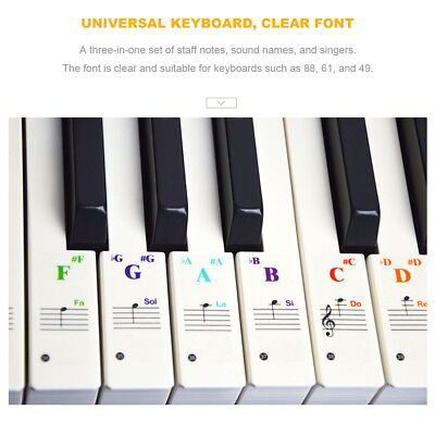 Durable Universal Transparent Piano 49/61/76/88 keys  Note Keyboard Sticker 000