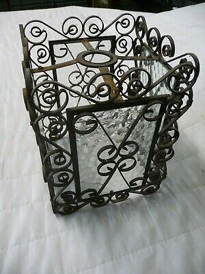 Vintage Wrought Iron+Obscure Glass Porch/Hall Lantern Shade Pendent Lamp Fitting