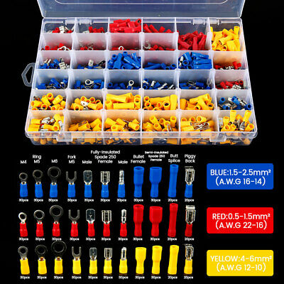 900X Assorted Insulated Electrical Wire Terminals Crimp ring Spade Connector Kit