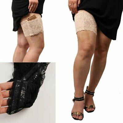 Women Lace Thigh Bands Anti-Chafing Thigh Sock Invisible Phone Pocket 1/2PCS