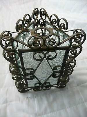 Vintage Wrought Iron+Obscure Glass Triangular Porch/Hall Lantern Shade Pendent