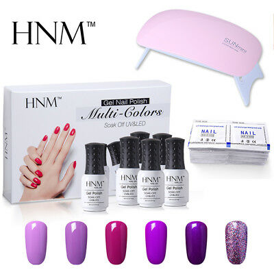 HNM 6 Colours Gel Nail Polish+UV LED Nail Lamp+Remover Wraps Manicure AU STOCK