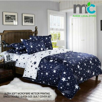 Blue star Queen/King/Super King Size Bed Doona/Duvet/Quilt Cover Pillowcases Set