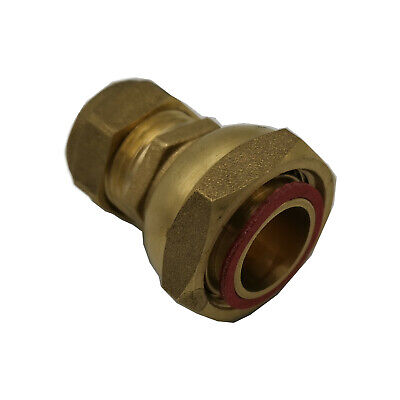 "Compression 15mm to 3/4"" BSP Brass Straight Tap Connector Fitting & Fibre Washer"