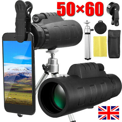 50X60 Portable HD Lens Monocular Telescope Day/Night Vision+Phone Clip+Tripod UK