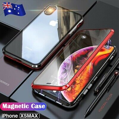 For iPhone XS Max 8 7 Magnetic Adsorption Metal Case Double Tempered Glass Cover