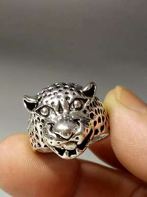 Chinese Collectable Tibet Silver Hand Carved Leopard Ring